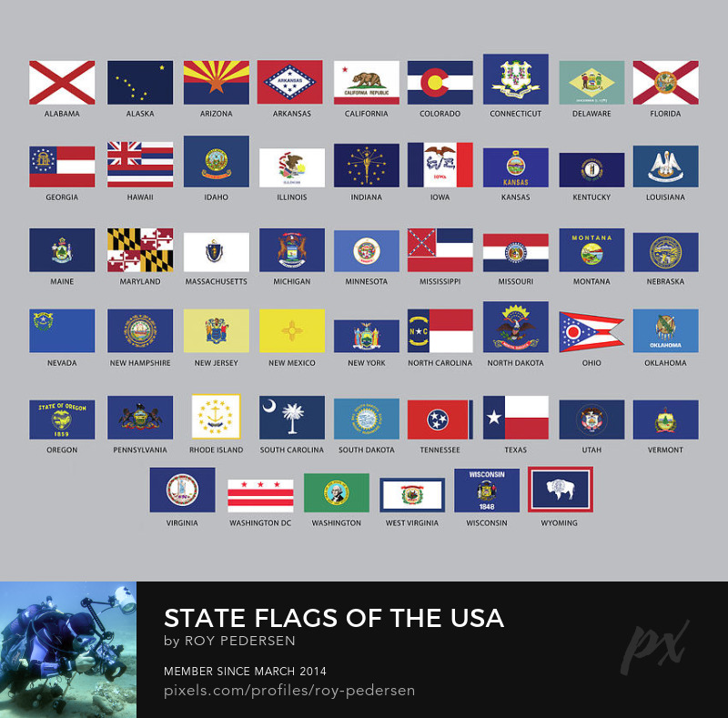 Flags of the states of the USA by Roy Pedersen