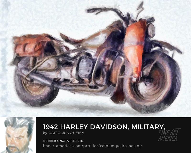 Buya a 1942 Military Harley Davidson print