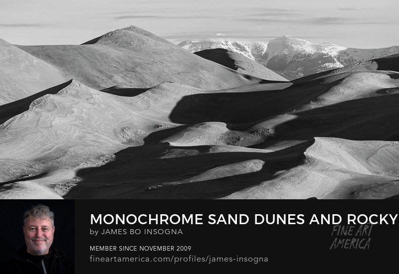 Monochrome Sand Dunes And Rocky Mountains Panorama Art Prints