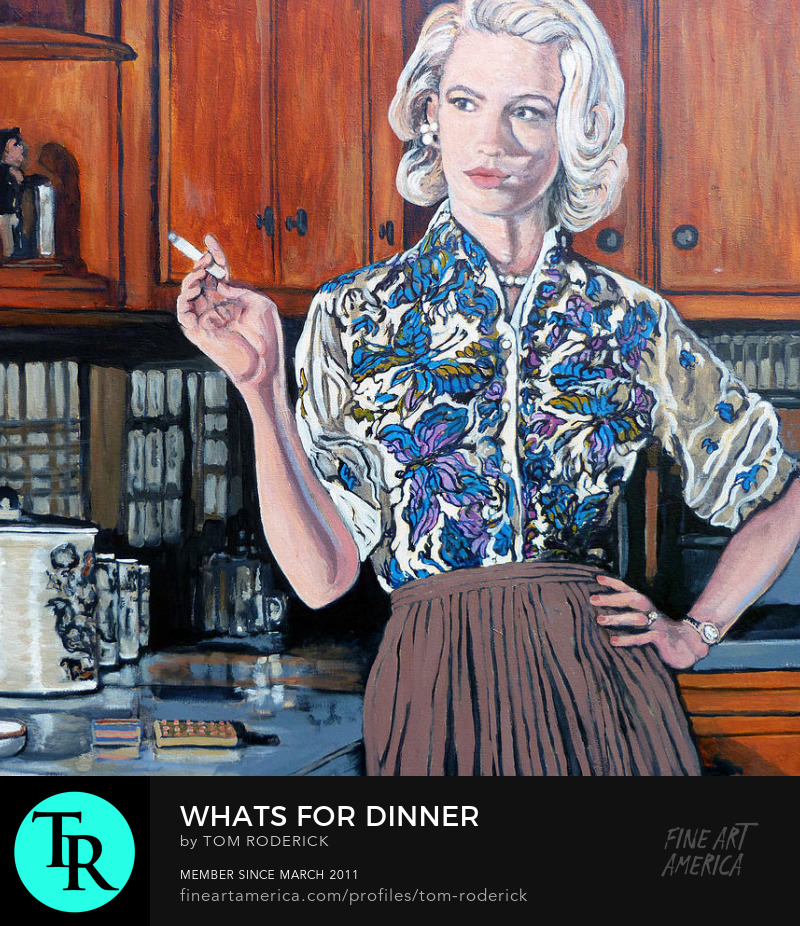 Betty draper smoking while reflecting on what to make for dinner by Boulder artist Tom Roderick