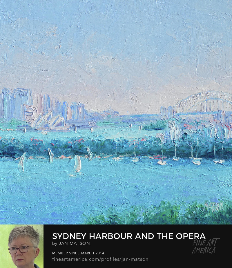 Impressionist oil painting of Sydney Harbour and the Opera House