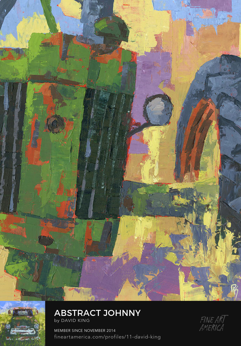 art painting abstract tractor john deere green farm