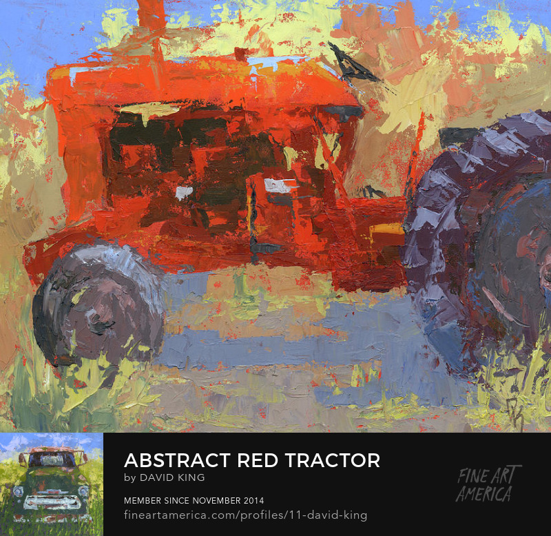art abstract painting tractor farmall red agriculture