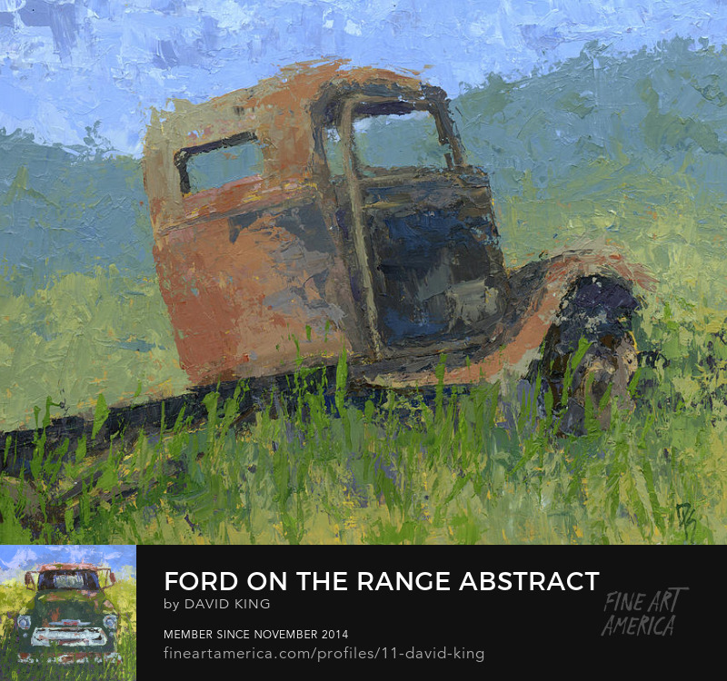 art painting truck abstract Ford rusty abandoned