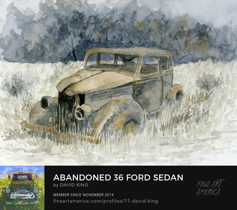 painting art watercolor abandoned Ford antique sedan