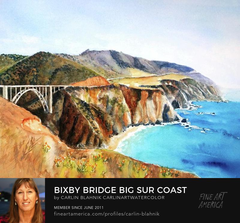 Bixby Bridge Big Sur Watercolor Painting Print by Carlin Blahnik