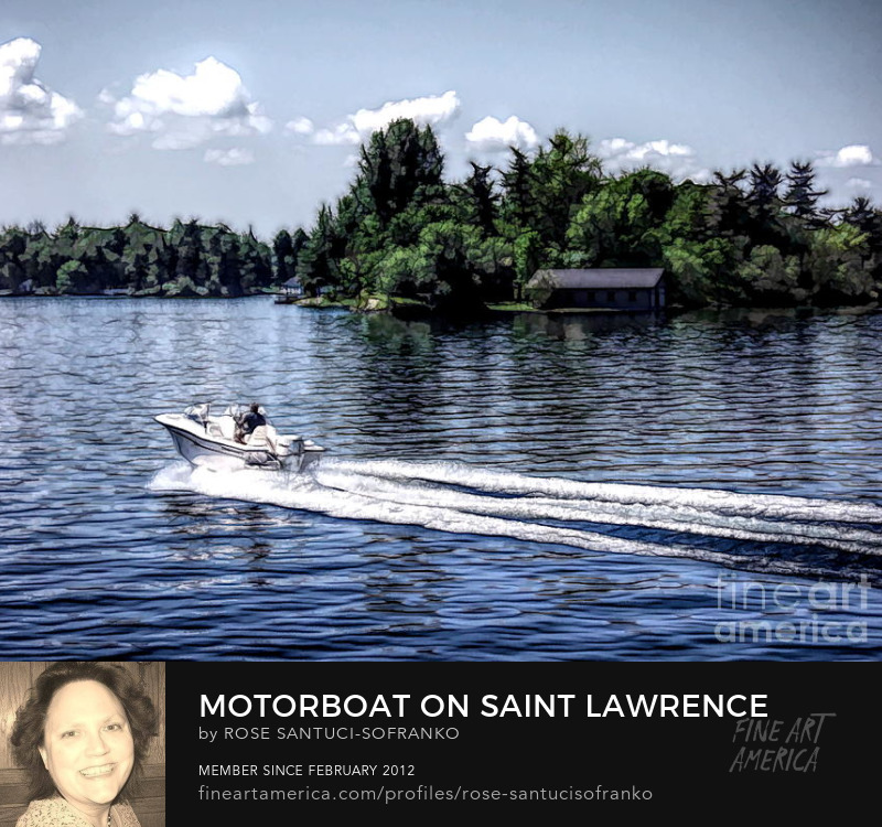 Motorboat On Saint Lawrence Seaway 1000 Islands Photography Prints