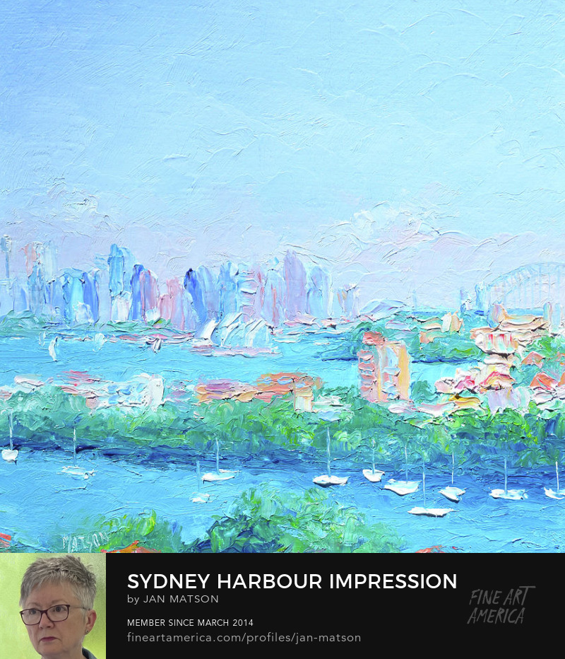 Impressionist oil painting of Sydney Harbour, the bridge and the opera house in a square shape.