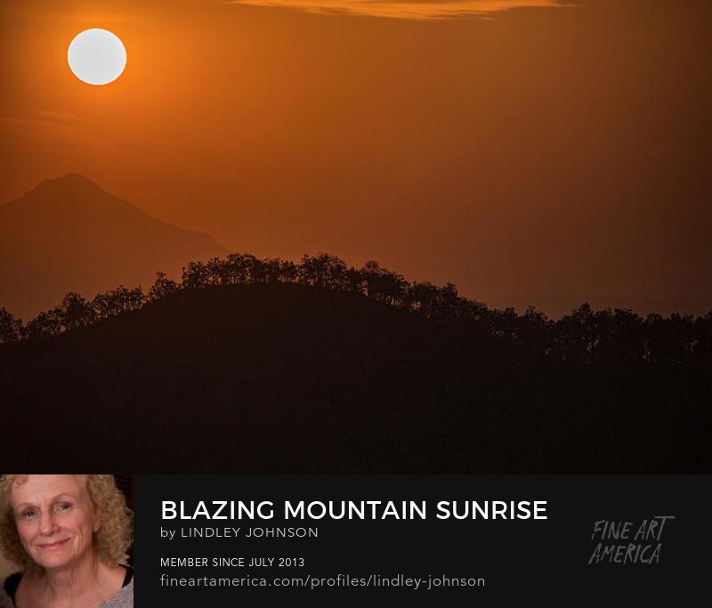 blazing mountain sunrise by lindley johnson