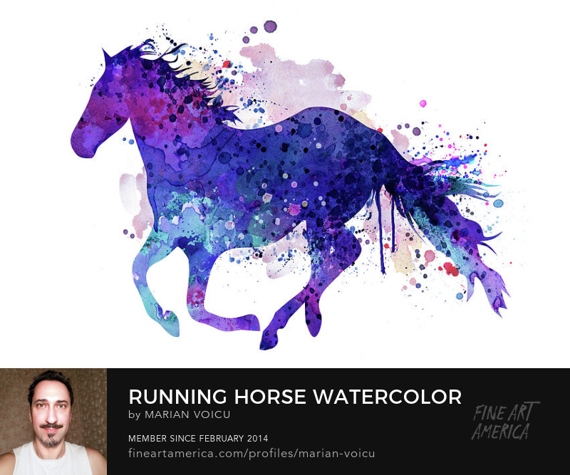 Watercolor silhouette of a running horse