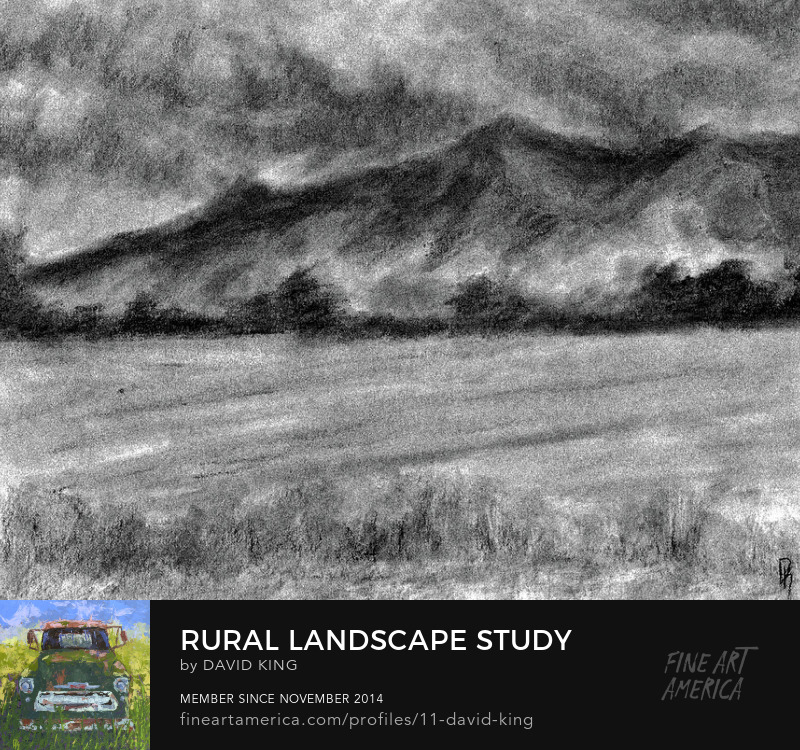 art drawing charcoal landscape rural field hay mountain