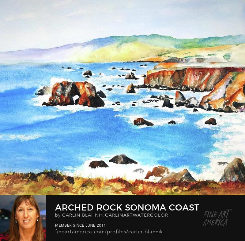 Coastal Watercolor Painting Print by Carlin Blahnik