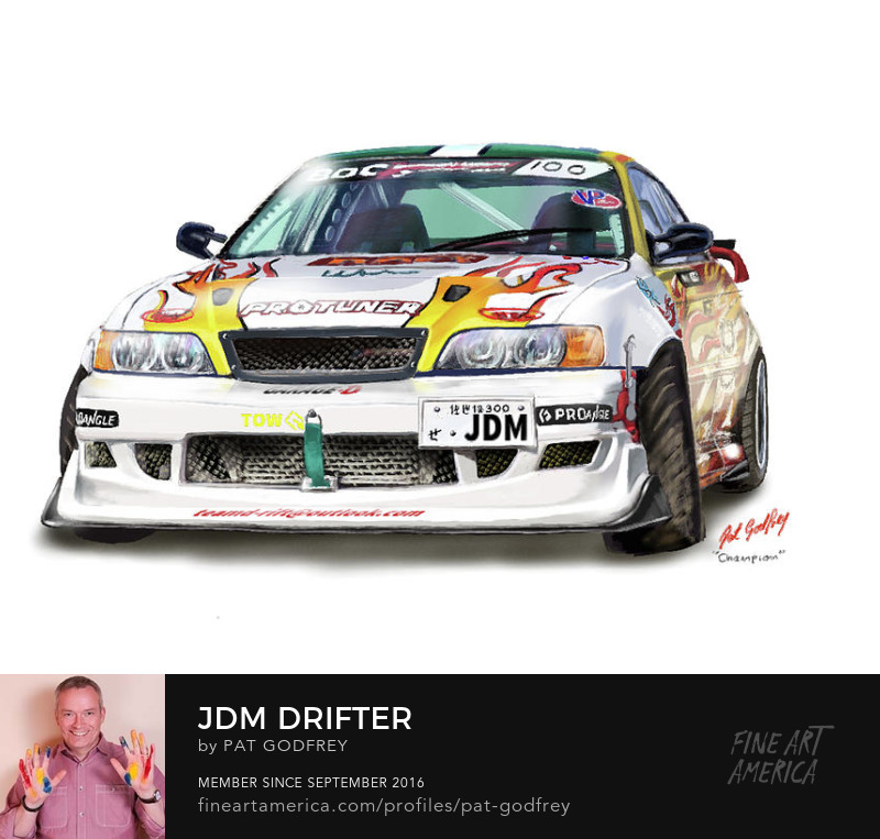 Painting of a drift car by Pat Godfrey