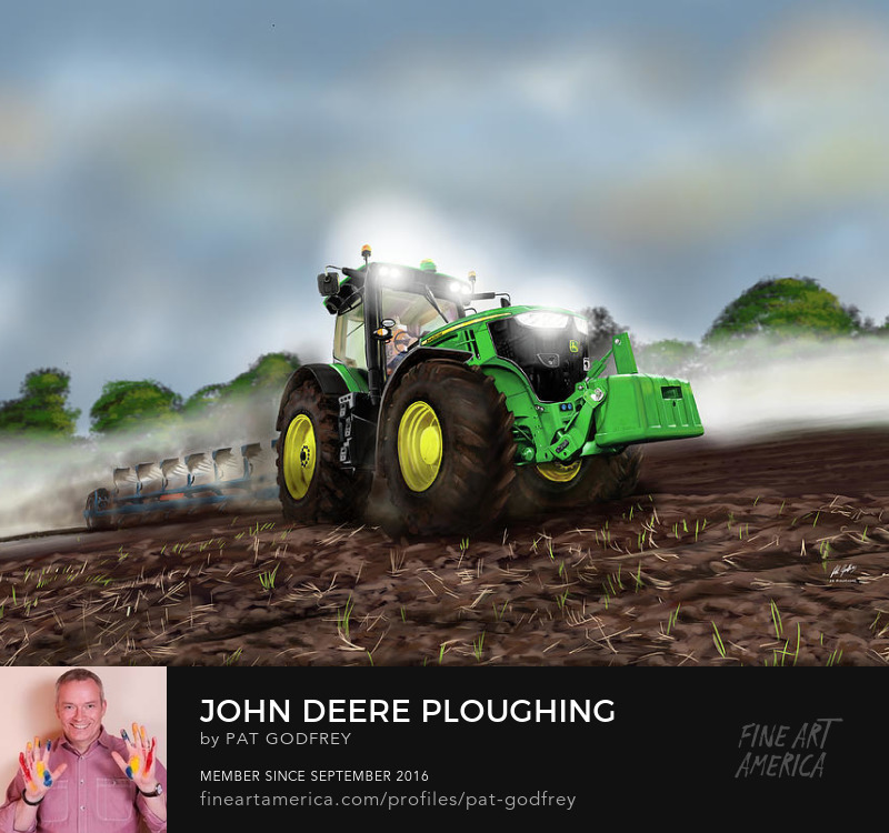 Painting of a tractor ploughing by Pat Godfrey