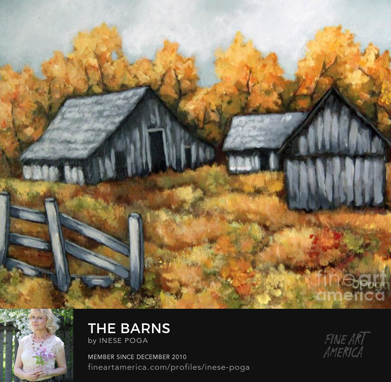 Fall paintings grey barns