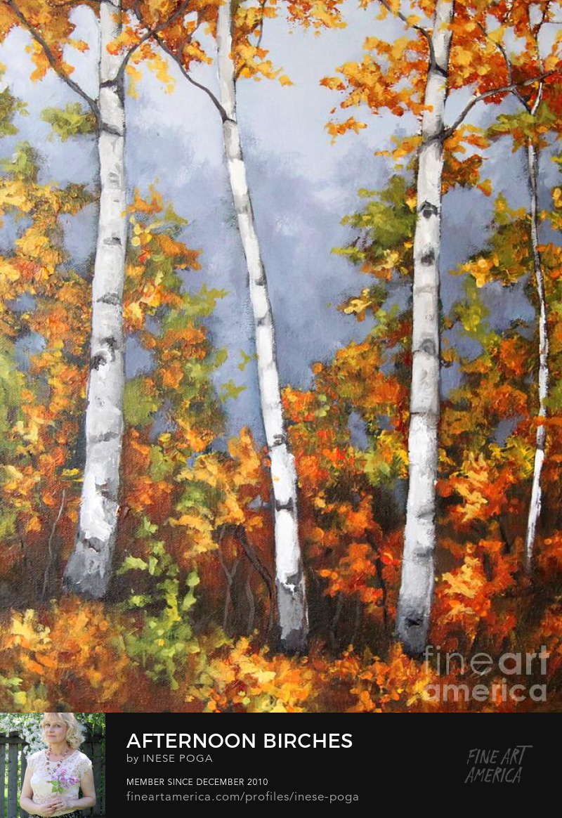 Value of creativity, creative fall paintings, birch forest