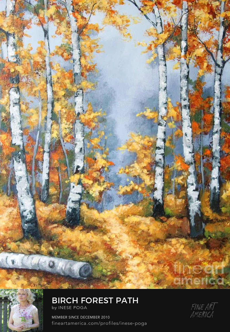 Value of creativity, birch forest path painting