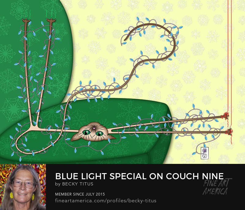 Blue Light Special On Couch Nine by Becky Titus' title=
