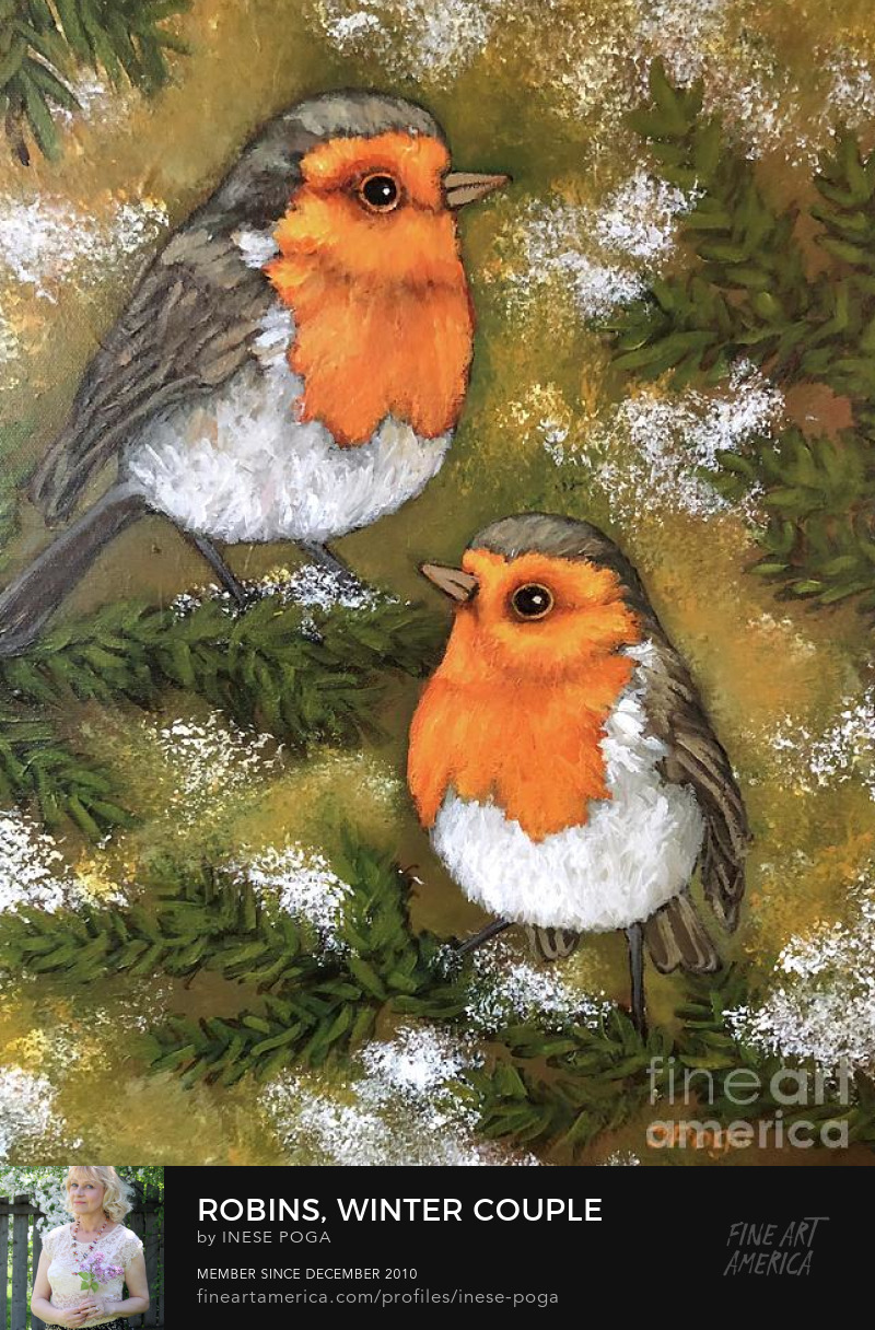 Robins, winter, bird painting for sale