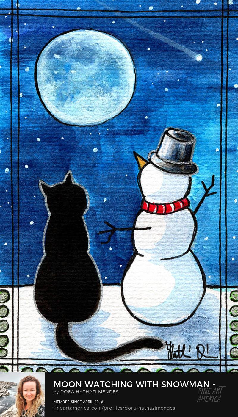 Moon Watching With Snowman Christmas Cat painting Dora Hathazi Mendes Canvas Art