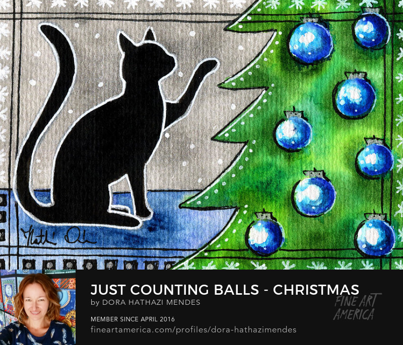 Just Counting Balls Christmas Cat painting Dora Hathazi Mendes Wall Art