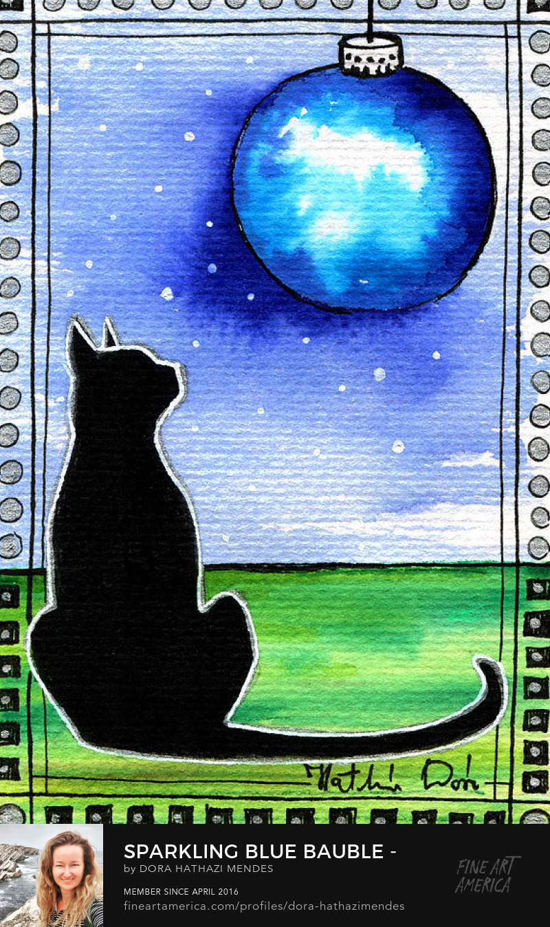 Sparkling Blue Bauble Christmas Cat Painting<br>