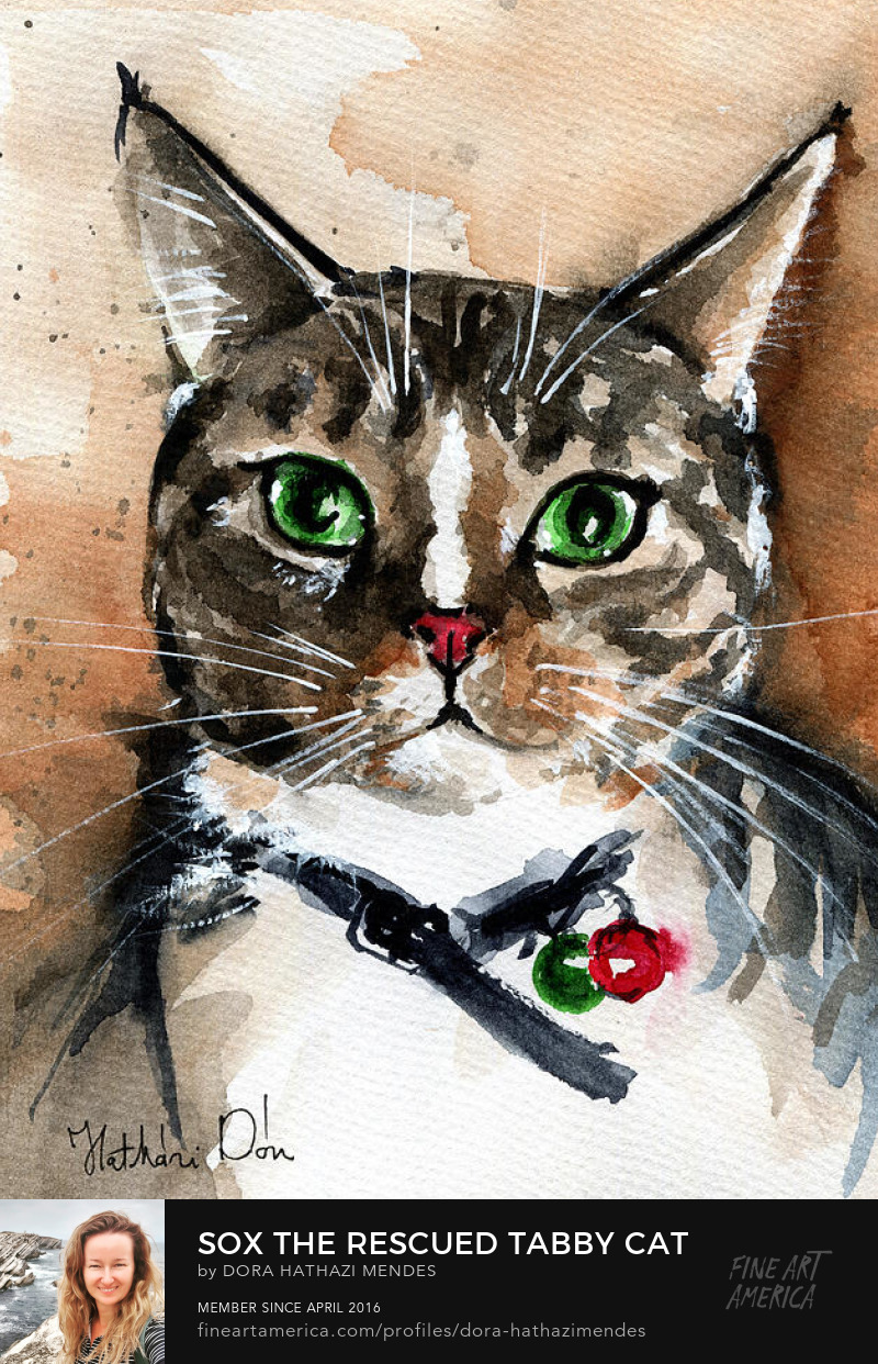 Tabby Cat Painting by Dora Hathazi Mendes