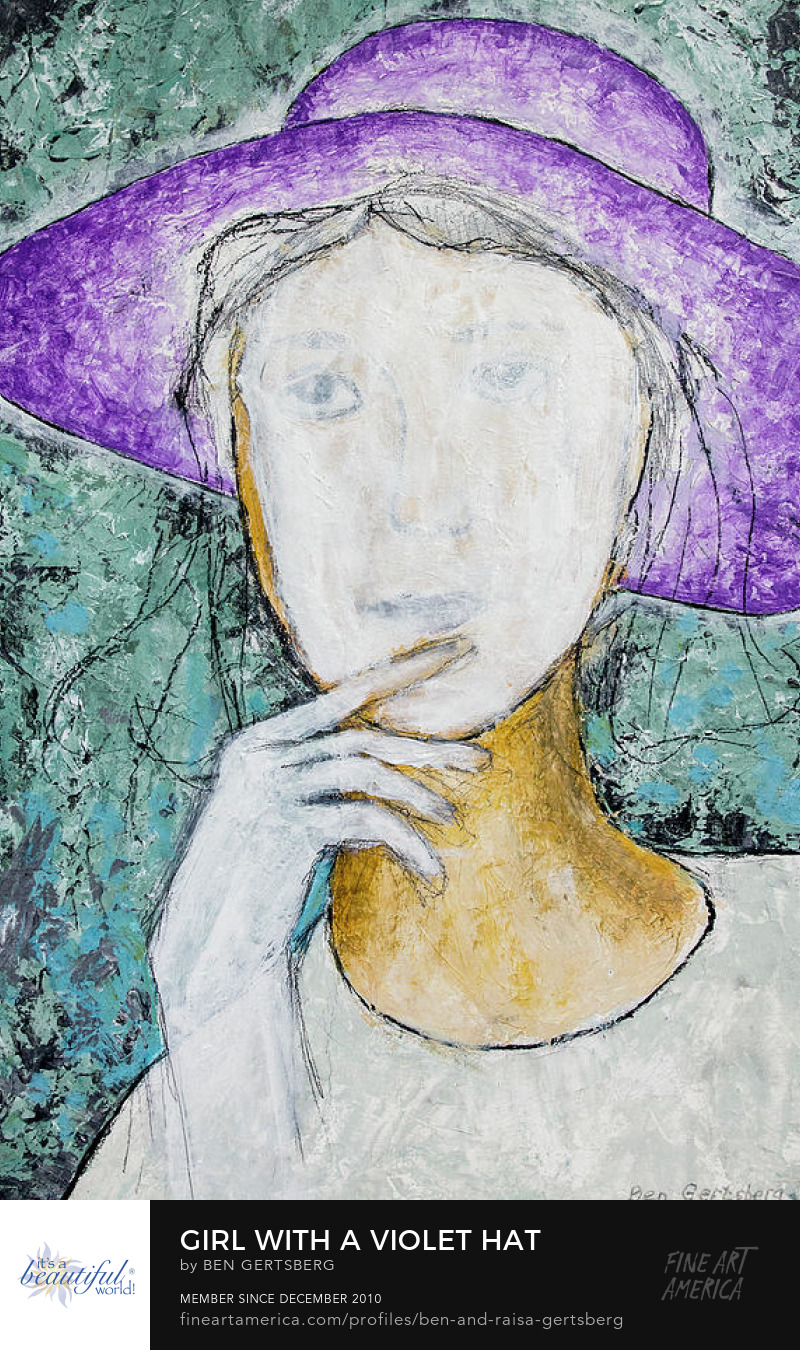 Girl With A Violet Hat, by Ben Gertsberg, Original Painting