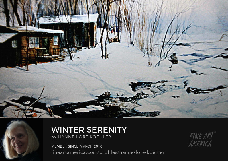 Winter cabin in the woods painting