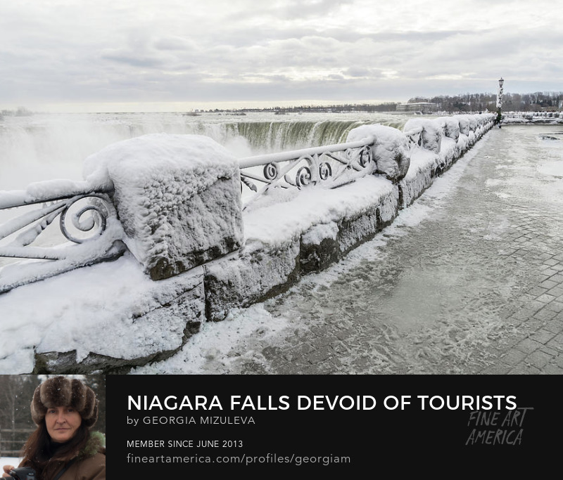 Niagara Falls Devoid Of Tourists Photograph by Georgia Mizuleva