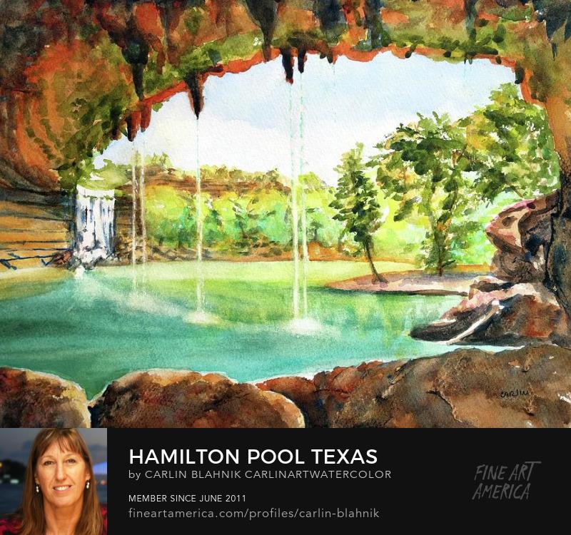 Hamilton Pool Texas Watercolor Painting Print by Carlin Blahnik