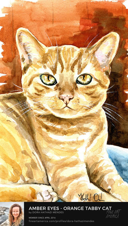 Amber Eyes Orange Tabby watercolor cat portrait by Dora Hathazi Mendes