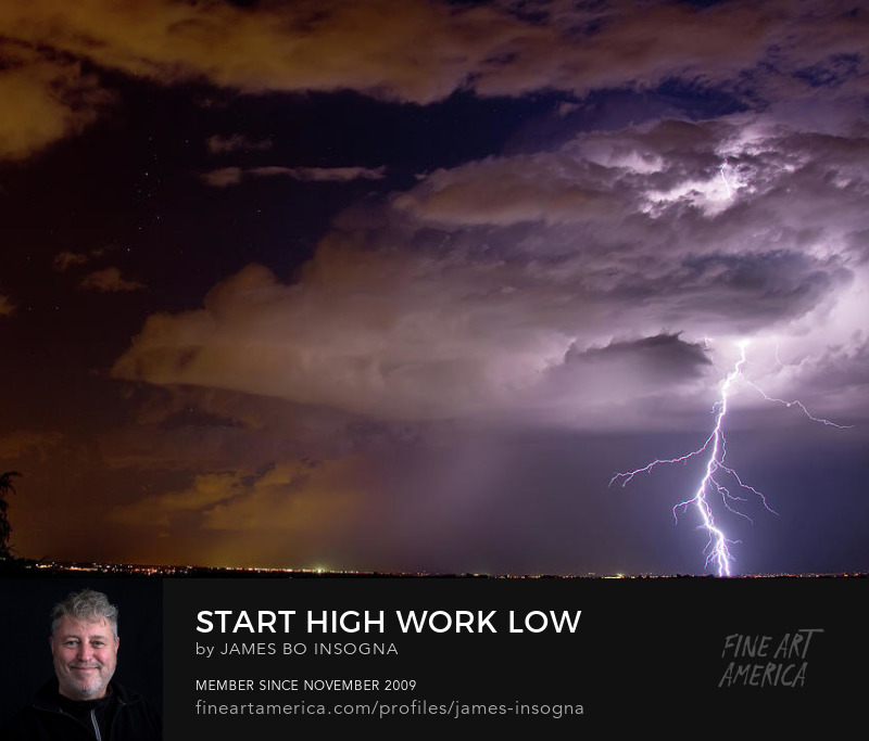 Lightning Bolt Starting High and Working Low Art Prints