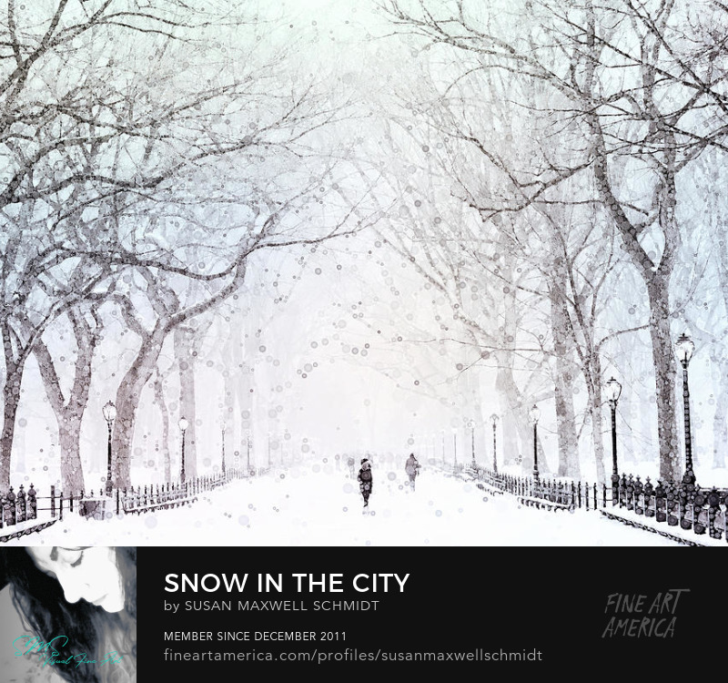 Snow in the City Art Print by Susan Maxwell Schmidt