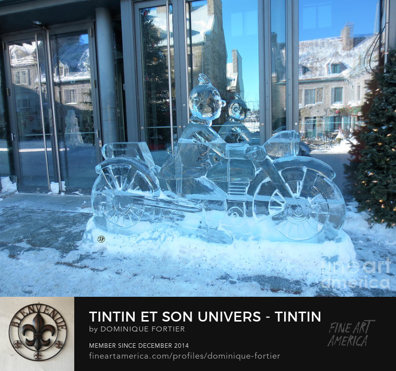 "The English version of the greeting card is entitled ""Tintin/Friends/Decor - Tintin Riding a Motorcycle 1"". In the series ""Tintin/Friends/Decor // Tintin et son univers"". This ice sculpture photo has been shot at Place-Royale [in the Lower part of the city near the St. Lawrence River] during the 2018 Quebec Winter carnival, in front of windows reflecting the old houses [17e-18e Century] of the site. Tintin is riding a motorcycle in the album ""Les aventures de Tintin - Le sceptre d'Ottokar [The Adventures of Tintin: King Ottokar's Sceptre]"". THE FINE ART AMERICA WATERMARK WILL NOT APPEAR ON ANY PURCHASED PRODUCT. Dominique Fortier has created this artwork suitable for Greeting Cards and Prints up to 48.000"" x 36.000"". Buy your iPhone or Galaxy case as well as T-SHIRTS and/or other apparels with this art at: http://dominique-fortier.pixels.com/ Copyright Dominique Fortier, 2018. All rights reserved. Featured on the Homepage of: 1- ""Images That Excite You"" (03/05/2018) 2- ""Mannequin Statue Doll Sculpture Gallery"" (03/09/2018) Thanks to the group hosts for their encouragement and support. belgium, tintin, herge, comic album hero, season, winter, ice, ice sculpture, transport, transportation, motorcycle, moto, communication, connect, carnival sculpture, 17e-18e century old houses, windows' reflection, place-royale, 2018 quebec winter carnival, quebec city, canada, photography, photograph The English version of the greeting card is entitled ""Tintin/Friends/Decor - Tintin Riding a Motorcycle 1"". Featured on the Homepage of: 1- ""The Colour Blue"" (02/20/2018) 2- ""Lady Photographers and Artists"" (02/23/2018) 3- ""Snow-Ice-Frost Including Mountain Tops"" (02/27/2018) 4- ""ABC Group - B IS FOR BLUE theme"" (03/01/2018) 5- ""Collectors Gallery"" (03/05/2018) 6- ""New FAA Uploads"" (03/17/2018). photo par Dominique Fortier, Québec"