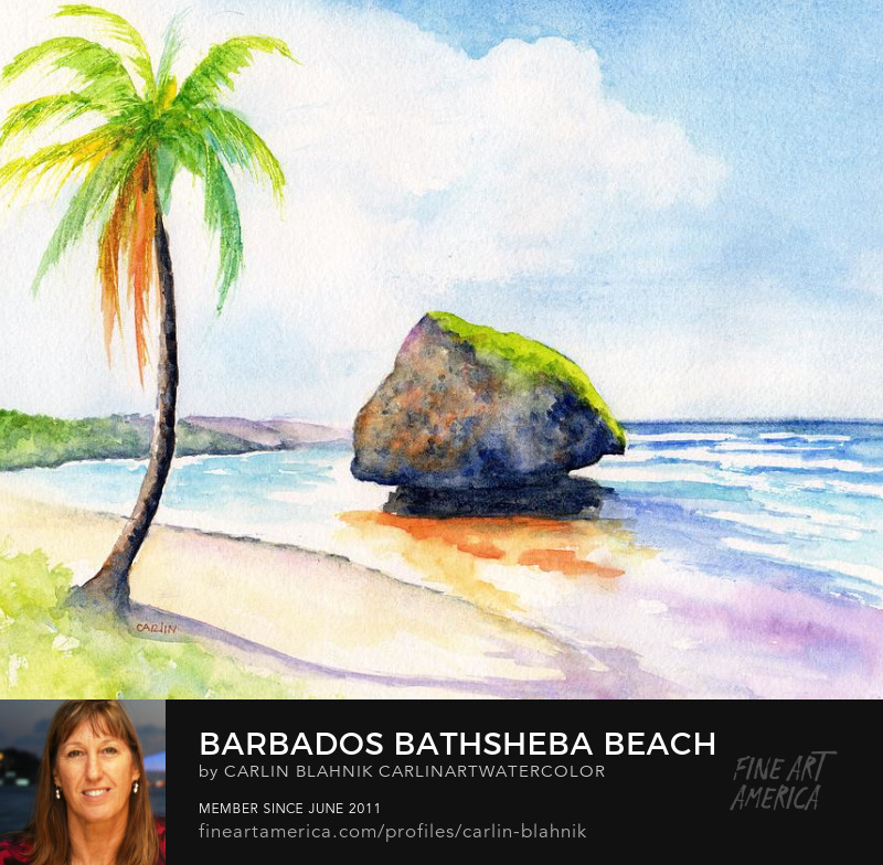 Bathsheba Beach Watercolor Painting Print by Carlin Blahnik