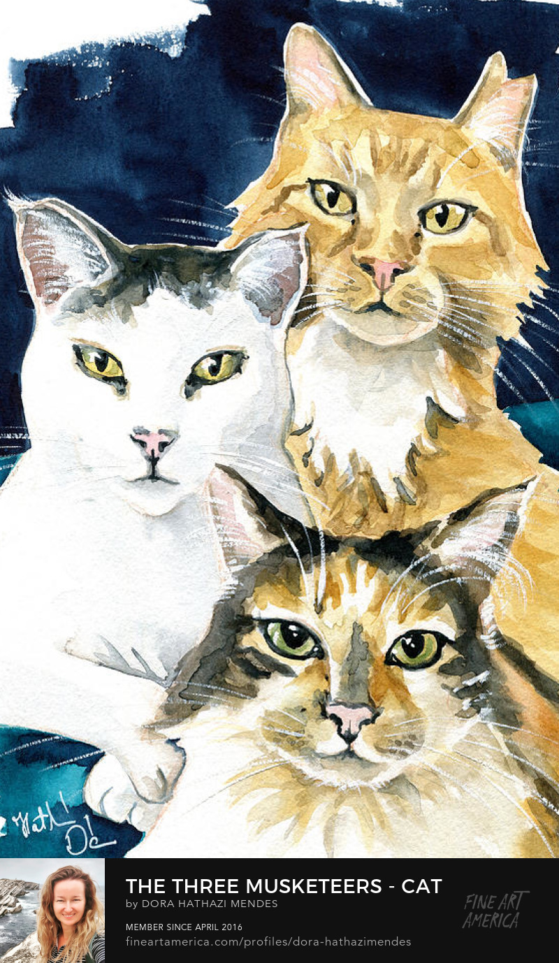 The Three Musketeers cat painting by Dora Hathazi Mendes