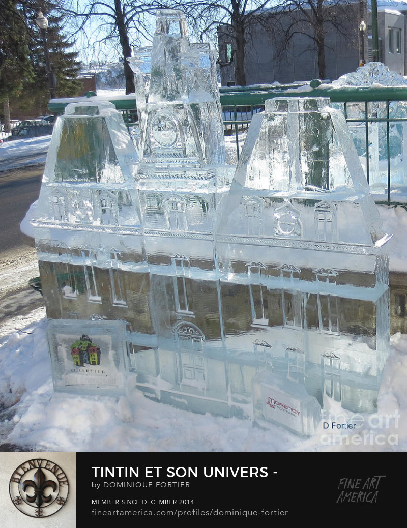 "Tintin et son univers - Moulinsart 1, The English version of the work is entitled ""Tintin/Friends/Decor - Marlinspike Hall 1"". In the series ""Tintin/Friends/Decor // Tintin et son univers"". This ice sculpture photo has been shot ""in situ"", in the touristic Petit-Champlain area [in the Lower part of the city near the St. Lawrence River] during the 2018 Québec Winter carnival. The representation of the ""château de Moulinsart"" [Marlinspike Hall] comes from the ""château de Cheverny"", that was used as a model for Marlinspike Hall. The central tower and two inner wings are identical while the two outermost wings were not used. Marlinspike Hall is Captain Haddock's country house and family estate in ""The Adventures of Tintin"", the comics series by Belgian cartoonist Hergé. The original French name of the hall (le château de Moulinsart) is derived from Sart-Moulin, a village near Braine-l'Alleud in Walloon Brabant, Belgium. In an allusion to the Haddock family's maritime history, the hall's English name refers to the marlinspike, a tool used in seamanship to splice ropes. The Belgian corporation managing Hergé's work (principally Tintin) is also called Moulinsart. Marlinspike Hall first appears in ""Les aventures de Tintin - Le secret de La Licorne [The Adventures of Tintin: The Secret of the Unicorn]"" as the home of the story's villains, the ""frères Loiseau [Bird brothers]"". By the end of the sequel ""Le trésor de Rackham le Rouge [Red Rackham's Treasure]"", the manor is found to have been built by Haddock's illustrious ancestor, ""le chevalier de Hadoque [Sir Francis Haddock]"". It is purchased by ""le professeur Tournesol [Professor Calculus]"" on behalf of the Captain, and the fabled treasure itself is found hidden in the manor's old chapel, in the cellars. In the following years, Marlinspike provides a home base for Tintin and Haddock in between their various adventures. In ""Les bijoux de la Castafiore [The Castafiore Emerald]"", virtually all of the action takes place in the Hall, its grounds, or the surrounding countryside. (main sources of the text: http://fr.tintin.com; http://en.tintin.com/; https://fr.wikipedia.org/wiki/Les_Aventures_de_Tintin) THE FINE ART AMERICA WATERMARK WILL NOT APPEAR ON ANY PURCHASED PRODUCT. Dominique Fortier has created this artwork suitable for Prints up to 43.250"" x 48.000"". Buy your iPhone or Samsung Galaxy case as well as other apparels with this art at: http://dominique-fortier.pixels.com/ Copyright Dominique Fortier, 2018. All rights reserved. Featured on the Homepage of: 1- ""Macro Marvels"" (02/21/2018) 2- ""What Interrobang 1 a Day"" (02/22/2018) Thanks to the group hosts for their encouragement and support. moulinsart, marlinspike hall, belgium, tintin, herge, season, winter, 2018 quebec winter carnival, ice sculpture, translucent, semitransparent, carnival sculpture, ice, quebec city, canada, les aventures de tintin, the adventures of tintin, herge comic album decor, place, architecture, building, castle, photography, photograph, 1- ""Arts Fantastic World"" (02/20/2018) 2- ""FAA Gallery Home for All Artists Who Create"" (02/25/2018) 3- ""Images That Excite You"" (02/27/2018) 4- ""Pin Me - Daily"" (02/27/2018) 5- ""No Place Like Home"" (03/05/2018), photographie par Dominique Fortier"