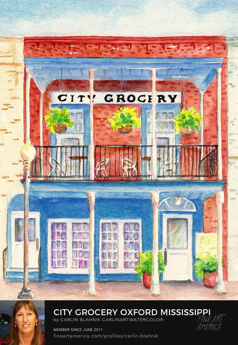 Oxford City Grocery Watercolor Painting Print by Carlin Blahnik
