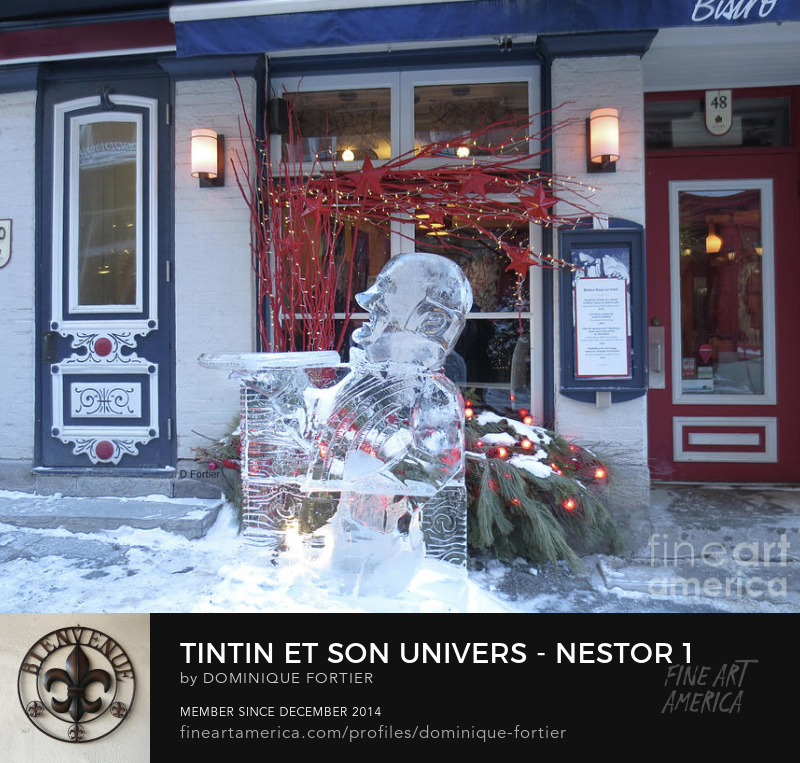 "Tintin et son univers – Nestor 1, Artist Dominique Fortier Medium Photograph - Photography Description The French version of the greeting card is entitled ""Tintin et son univers – Nestor 1"". In the series ""Tintin/Friends/Decor // Tintin et son univers"". The ice sculpture photo has been shot ""in situ"", in the touristic Petit-Champlain area [in the Lower part of the city near the St. Lawrence River] during the 2018 Québec Winter carnival. Here, the sculpture is located in front of the Bistro Sous Le Fort, a little café. Nestor is the ""major d'homme"" [Butler], the ever-faithful servant of Captain Haddock, ""Lord"" of ""Moulinsart"" [Marlinspike Hall]. He is a secondary, but essential character. He cumulates a number of qualities: competence, loyalty, selflessness, resourcefulness, mental agility and a knack for getting their employers out of sticky situations, etc. He will be the one in charge of providing Captain Haddock, a ""heavy drinker"", with three star cognac (high quality brandy distilled in the Cognac region in Western France), or the whisky Loch Lomond. He gets on stage in ""Le secret de La licorne [The Secret of the Unicorn]"". (main source of the text: http://fr.tintin.com/personnages/persos/id/MP#nestor) THE FINE ART AMERICA WATERMARK WILL NOT APPEAR ON ANY PURCHASED PRODUCT. Dominique Fortier has created this artwork suitable for Greeting Cards and Prints up to 36.000"" x 27.625"". Buy your iPhone or Galaxy case as well as T-SHIRTS and/or other apparels with this art at: http://dominique-fortier.pixels.com/ Copyright Dominique Fortier, 2018. All rights reserved. nestor, butler, ever-faithful servant of Captain Haddock, chief manservant of marlinspike hall, herge, les aventures de tintin, the adventures of tintin, belgium, tintin, herge comic album character, tintin character, male character in comics, season, winter, ice sculpture, sculpture, translucent, semitransparent, carnival sculpture, ice, 2018 quebec winter carnival, quebec city, canada, photography, photograph, photographie par Dominique Fortier, artiste"