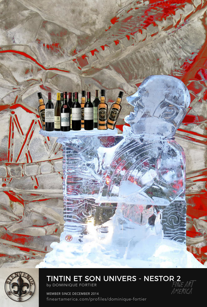 "Tintin et son univers - Nestor 2, Artist Dominique Fortier Medium Mixed Media - Photograph, Photography, Photographic/digital Art, Digital Enhancement Description The English version of the greeting card is entitled ""Tintin/Friends/Decor - Nestor 2"". In the series ""Tintin/Friends/Decor // Tintin et son univers"". Nestor ice sculpture has been shot ""in situ"", in the touristic Petit-Champlain area [in the Lower part of the city near the St. Lawrence River] during the 2018 Québec Winter carnival. The sculpture was located in front of the Bistro Sous Le Fort, a little café. The textured background is a photo detail of an ice sculpture. The bottles of Loch Lomond (captain Haddock's prefered whisky) and Bordeaux (Hergé's prefered red wine) stand on the ice tray, the butler being in service. Nestor is the ""major d'homme"" (majordome) [Butler], the ever-faithful servant of Captain Haddock, ""Lord"" of ""Moulinsart"" [Marlinspike Hall]. He is a secondary, but essential character. He cumulates a number of qualities: competence, loyalty, selflessness, resourcefulness, mental agility and a knack for getting their employers out of sticky situations, etc. He will be the one in charge of providing Captain Haddock, a ""heavy drinker"", with three star cognac (high quality brandy distilled in the Cognac region in Western France), or the whisky Loch Lomond. He gets on stage in ""Le secret de La licorne [The Secret of the Unicorn]"". Three cheers for Nestor! The heroic butler, in the famous scene in ""Les 7 boules de cristal [The Seven Crystal Balls]"" (page 4), deftly saves the Captain's whisky (Loch Lomond) before being haplessly overturned by Milou [Snowy] chasing a cat! (main source of text: http://en.tintin.com) THE FINE ART AMERICA WATERMARK WILL NOT APPEAR ON ANY PURCHASED PRODUCT. Dominique Fortier has created this artwork suitable for Greeting Cards and Prints up to 27.875"" x 36.000"". Buy your iPhone or Galaxy case as well as chic bar T-SHIRTS or classy restaurant SPIRAL NOTEBOOKS with this art at: http://dominique-fortier.pixels.com/ Copyright Dominique Fortier, 2018. All rights reserved. nestor, butler, ever-faithful servant of captain haddock, chief manservant of marlinspike hall, moulinsart, herge, les aventures de tintin, the adventures of tintin, tintin, herge comic album character, tintin character, male character in comics, season, winter, ice sculpture, translucent, ice, 2018 quebec winter carnival, restaurant, service, classy, stylish, high-class, superior, chic, elegant, sophisticated, upscale, high-toned, posh, ritzy, plush, swanky, on the rocks, majordome, quebec city, canada, photograph, photography, photographic/digital art, digital enhancement"