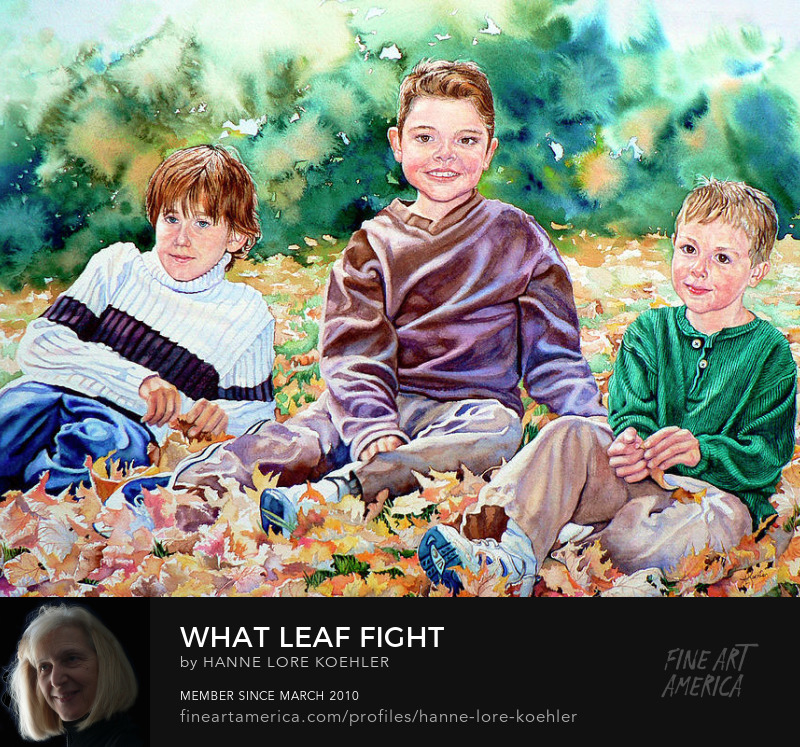 Art Prints Of Children Playing In Autumn Leaves