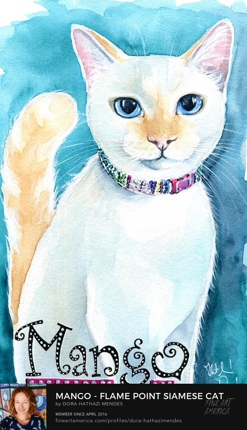 Mango Flame Point Siamese cat art by Dora Hathazi Mendes