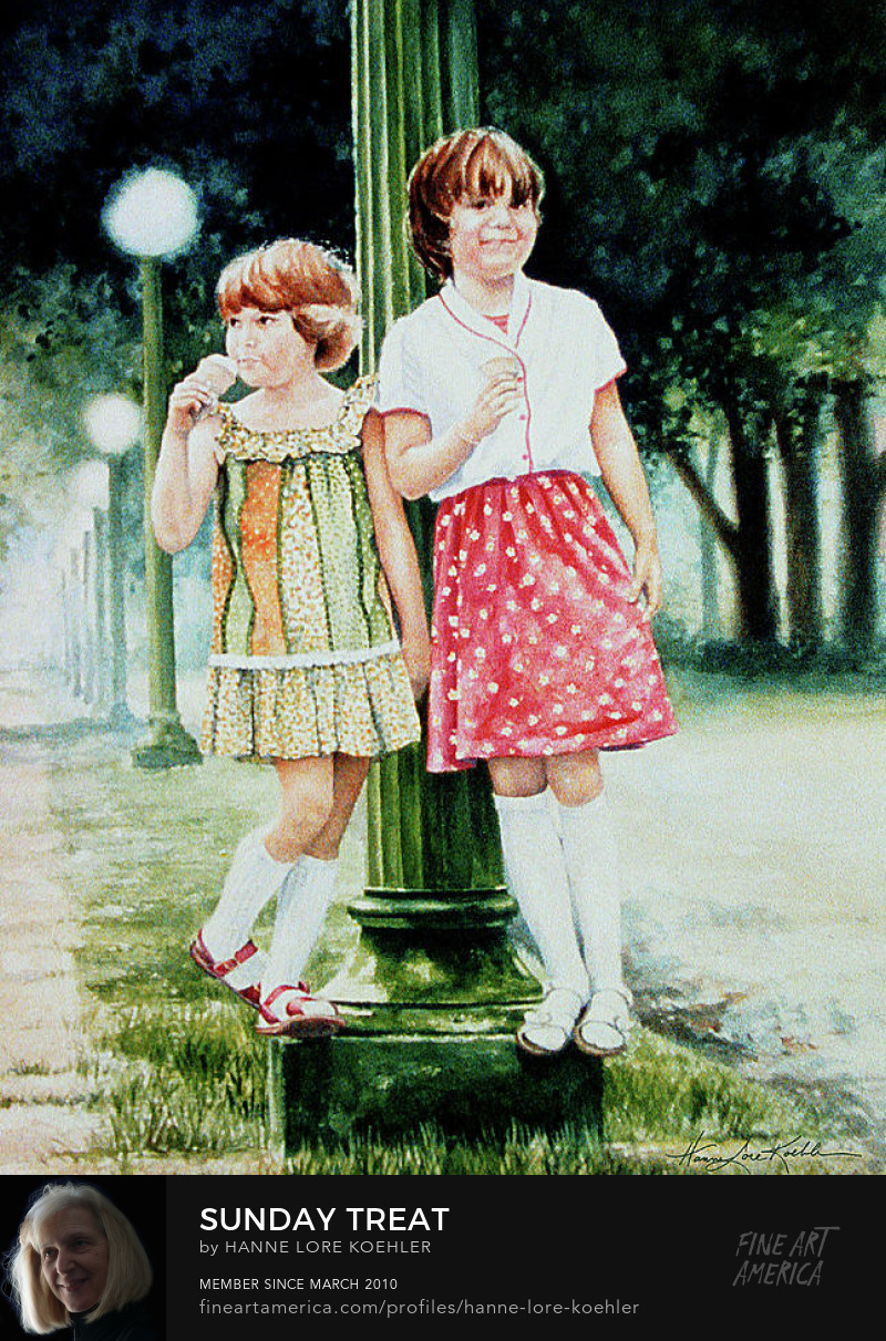 Painting Of Girls Eating Ice Cream Cones