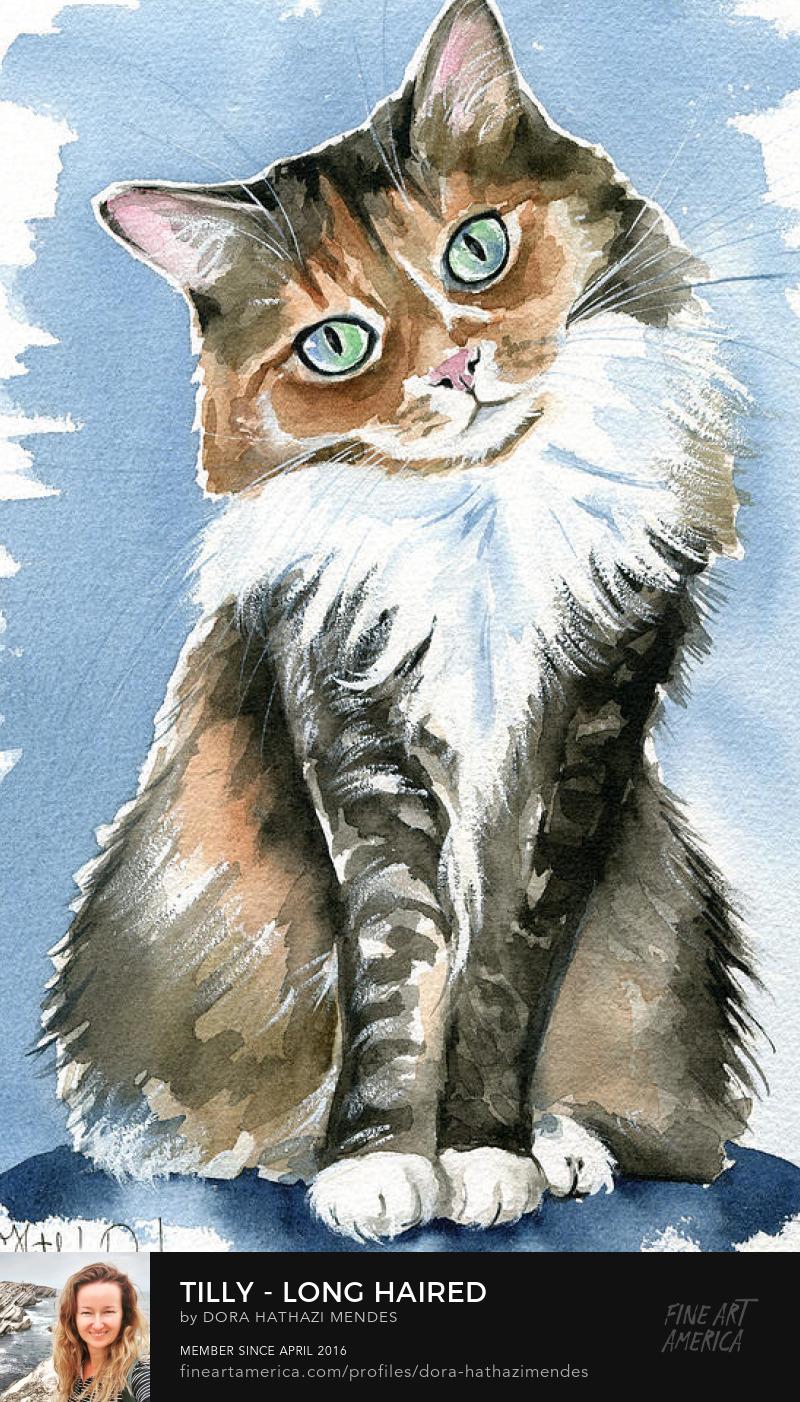 Watercolour cat art by Dora Hathazi Mendes