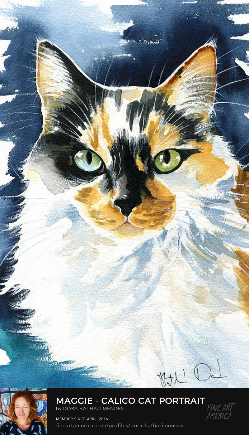 watercolour Calico cat art by Dora Hathazi Mendes