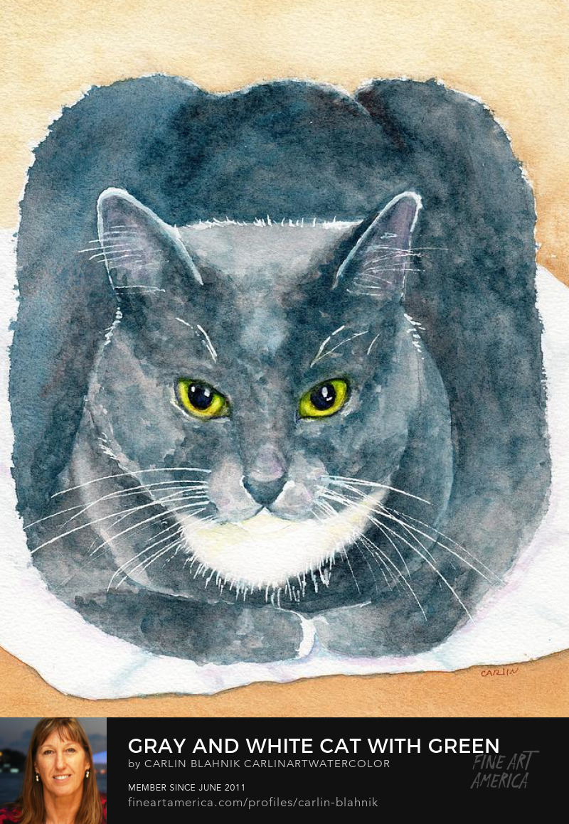 Cat Portrait Watercolor Painting Print by Carlin Blahnik