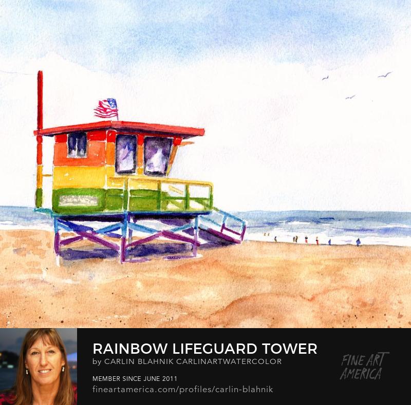Rainbow Lifeguard Tower Watercolor Painting Print by Carlin Blahnik