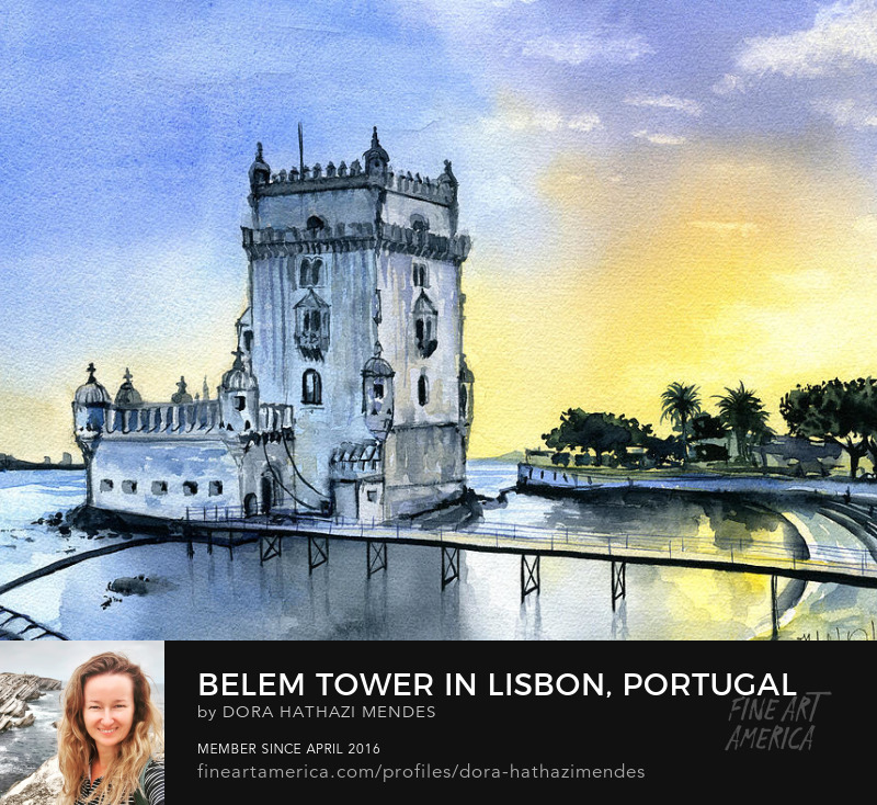 watercolor painting titled Belem Tower in Lisbon Portugal