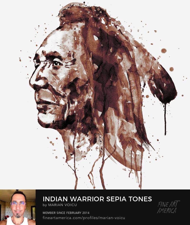 Watercolor portrait of a native american warrior in sepia tones